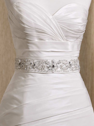 Wholesale - Glamorous Dazzing Exqusite Crystals Beaded wedding dress White Ivory belt bridal dress sashes wedding accessory