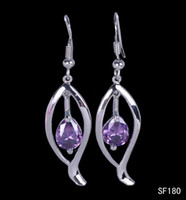 Dangle & Chandelier Bohemian Women's Fashion 5pcs Beautiful Inner Loop Purple Eardrop 925 Sterling Silver Pendant Charms Earrings Dangle Jewelry Craft DIY SF180*5