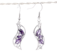 Dangle & Chandelier Bohemian Women's Fashion 5pcs Amethyst Dancing Moon Earrings 925 Sterling Silver Pendant Charms Earrings Dangle Jewelry Craft DIY SF188*5