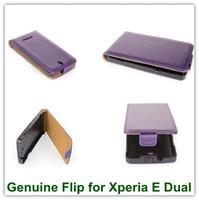 achat en gros de xperia e noir-1PCS Noir en Cuir Véritable Flip Vertical en Cuir Back Cover Protector case pour Sony Xperia E Dual C1605 Livraison Gratuite