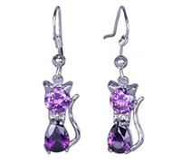 Dangle & Chandelier Bohemian Women's Fashion 5pcs Amethyst Purple Cat Kitten Earrings Real 925 Sterling Silver Pendant Charms Earrings Dangle Jewelry Craft DIY SF213*5