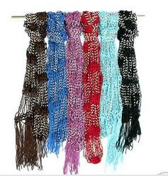 Wholesale fast delivery Beaded Jewel Scarf Crocheted Bling Rhinestone Beaded Colorful Knitted Scarf Belt Shawl Wrap