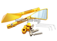 Wholesale CNC Machined Rear View Mirriors for Street Bike Naked Cruiser Scooter Dirt Bike A Pair Gold CMD CNCM03
