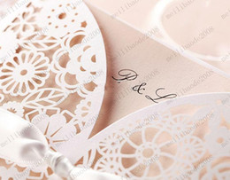 Wholesale Pink hollow out carve invitations cards Wedding Invitations come with bow MYY7021