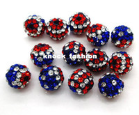Wholesale 100pcs mm Crystal Rhinestone Pave Disco Ball USA Flag Clay Beads