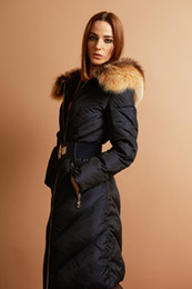 Wholesale Exports Russia luxury Women long down coat winter warm outwear overcoat parkas jacket with big black fur collar with belt colors sizes