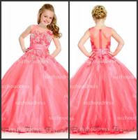 2014 niña desfile vestidos de bola vestido joya tul Applique moldeado Princesa Vestidos Floristas PA 1510