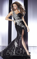 Wholesale Black Mermaid Sequins Peacock Feather Prom dresses Pageant with One Shoulder Neck