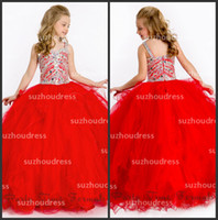 Reference Images Girl Beads 2014 New Girl's Pageant Dresses Ball Gown Spaghetti Ruffles Beads Tulle Princess Little Pretty Flower Girl Dresses PA 1511