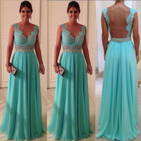 Wholesale 2013 Mint Green A line Chiffon Long Bridesmaid Dresses with Sheer Open Back and Cap Sleeves Prom Dresses BO1219