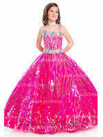 Reference Images Girl Beads 2014 New Little Girl's Pageant Dresses Ball Gown Spaghetti Straps Crystals Organza Princess Sequins Flower Girl Dresses PA 1512