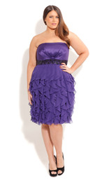 Wholesale Hottest New Arrival Ruffle Tiered Plus Size A Line Strapless Zipper Chiffon Knee Length Party Prom Cocktail Homecoming Bridesmaid Dresses