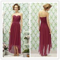 Wholesale 2014 new arrival sweetheart purple chiffon tea length long bridesmaid dresses hi lo formal dresses LR190