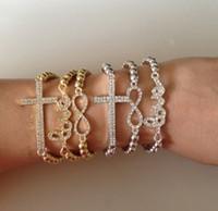 Beaded, Strands sideways cross bracelet - 50PCS CHARM Cross Infinity Bar Beads Sideways Connector Bracelets Metal Beaded Jewelry Bracelets In Style