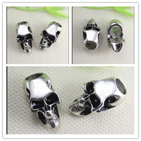 Wholesale 50PCS Antique Silver Tone Pave Skull Big Hole Beads Fit European making Bracelet jewelry findings