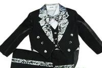 Wholesale 2015 black children boy Tuxedo suit Wedding suits Formal Party Groom Jacket Pants bow tie vest Dress shirt set