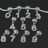 Wholesale 50PCS mm x mm Crystal Rhinestones To Number digit Dangle Big Hole Beads Pendant For European Bracelet jewelry findings