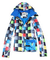 Wholesale mens rainbow square grid waterproof snowboarding jacket multicolour ski jacket warm ski parka men skiwear anorak