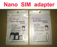 Wholesale 4 in Nano Micro Sim Card Adapter Eject Pin Key i ever Sim adaptor for iPhone G S C Samsung sets