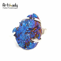 Wholesale druzzy crystal stone adjustable ring drusy multi color natrual statement ring party jewelry