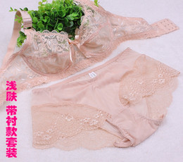 Wholesale Ultra thin sexy single tier lace transparent cutout women s single bra breathable push up thin bc cup underwear set