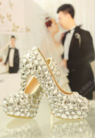 Wholesale Charming Bling Bling White Wedding Shoes Around Crystals High Heel Wedding Party Shoe Rhinestones cm High Heeles Prom Ball Shoes