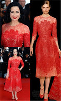 Reference Images High Neck Tulle 2014 Hot Sale Elie Saab New Dita von Teese High Neck Red Tulle Celebrity Dresses 3 4 Long Sleeve Lace Beads Tea Length Evening Gowns 1102