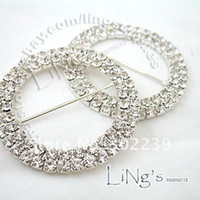 Wholesale Round Crystal Rhinestone Buckle in Silver Rows mm wedding JF9144S