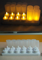 Wholesale Drop Shipping Rechargeable Flameless Night Light Tealight LED Candle Lamp Cup Adaptor Options for Party Club Wedding Christmas Church