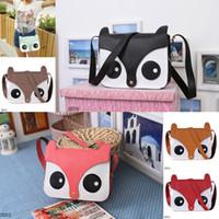 Wholesale Trendy Lady Girl PU Leather Shoulder Bag Cute Owl Fox Carton Pattern Satchel Messenger Bag Colors Choose DDV