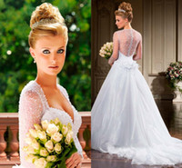 Wholesale 2014 Ball Gown Wedding Dresses With Sweetheart and Sheer Long Sleeve See Through Back Beads Sequins Covered Button Organza Bridal Gowns