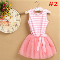 Wholesale New Fashion Children Baby Girls Dress children striped With Bow Flower Party Dresses For Summer