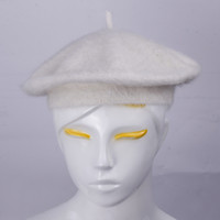Wholesale Fashion Women Rabbit Fur White Beret Hats Gentle Soft Elegant Caps Casual Style DIR1