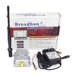 Wholesale W WiFi Wireless Broadband Amplifiers Router Power Range Signal Booster Antenna