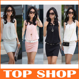 Wholesale Fashion Womens Dresses color S M L Chiffon Sheath Mini Sleeveless Work Dress