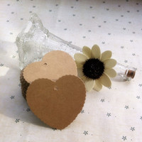 anniversaries cards - Brand New Kraft Paper Blank Heart Shape Gift Tag Retro Hang tag String Included