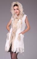 Wholesale 2014 new rabbit fur knitted vest and long sections rabbit raccoon fur vest vest