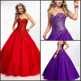 Wholesale Custom Made Red Or Purple Princess Ball Gown Prom Dresses Hot Quinceanera Dress Corset Exquisite Floor Length Lace Up Cheap Sweetheart