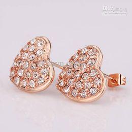 Wholesale - Best-selling 20pcs Swarovski crystal Earring 18K rose gold Love crystal Fashion Earrings