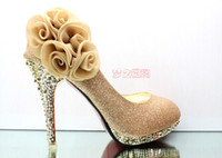 Hot selling Sparkling Flowers Wedding Bridal Dress Shoes 201...
