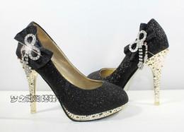 Wholesale Hot selling Sparkling Black Wedding Bridal Dress Shoes Lady Women s Diamond Bow Bride Bridesmaid CM High Heels Party Prom Shoes