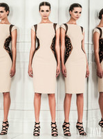 Reference Images Crew Chiffon Hot Sale ZUHAIR MURAD Formal Evening Dresses With Applique Knee Length Sexy Sleeveless Champagne Party Dresses Zuhair Murad Dresses Newest