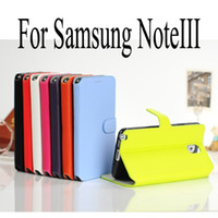 For Samsung Leather For Christmas Best Quality Real Leather Case Cover For Samsung Galaxy NoteIII Note3 Note 3 N9000 Side Flip Fold magnetic snap wallet Style Mix Color