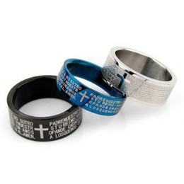 48pcs lot Wholesale Free Shipping lovers bible cross ring titanium Men's ring Cross Finger Ring
