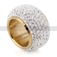 Wholesale Latest good diamond color Austrian crystal ring imported stainless steel ring