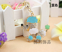 Wholesale Cute Crystal Keyring Shell Puppy Car Key Chain Diamond Plated Handbag Accessories New Arrival DHL Shipping