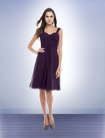 Reference Images Ruched Sleeveless 2013 Popular Purple Spaghetti Bill Levkoff A-Line Bridesmaid Dresses Knee-length Cris-Cross Pleats Chiffon Short Prom Party Cocktail Dresses