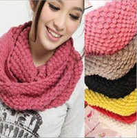 retail shawls - 12pcs Retail Winter Solid Color Women Warm Scarf Winter Knitted Collar Wool Yarn Candy Color Muffler Scarf lovers Scarf L380