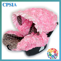 pink car seat covers - 3D Roses Baby Pink Infant Car Seat Cover with Matching Neck Strap Set Baby Pink car seat cover baby rosette hot selling sets