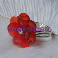 Iron ECO Friendly  Tracking Number-RED Acrylic Flower Silver Plated Wedding Favors Napkin Rings Wedding Bridal Decoration